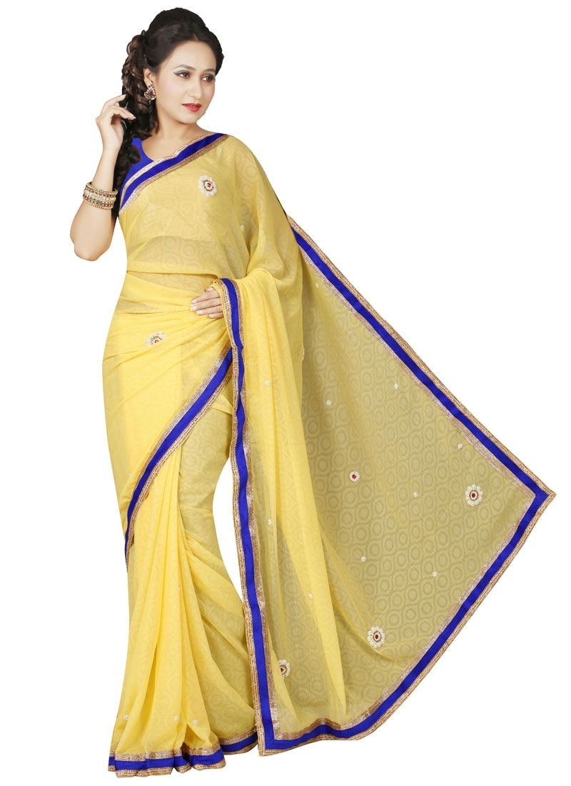 Simplistic Beads Work Casual Saree