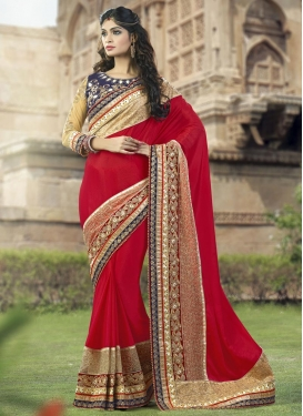 Simplistic  Beads Work Faux Georgette Designer Contemporary Saree