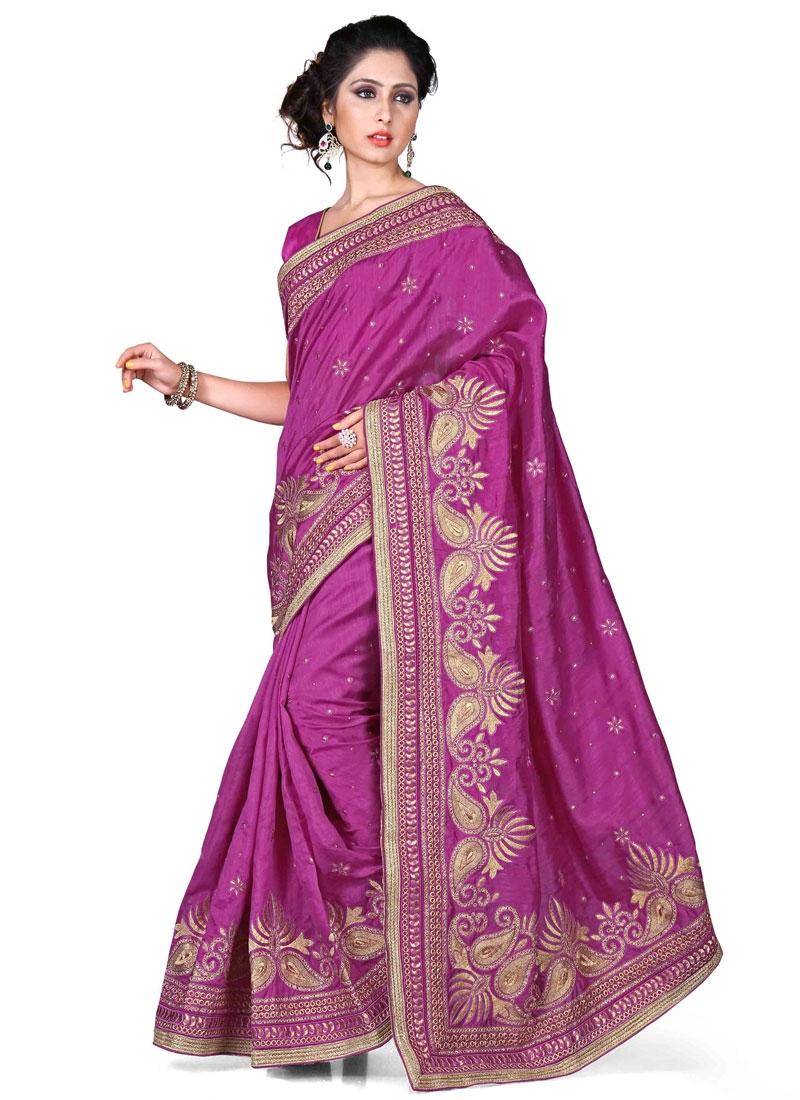 Simplistic Bhagalpuri Silk Stone Work Designer Saree