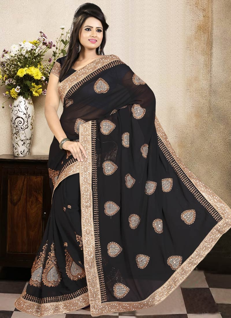 Simplistic Black Color Stone Work Party Wear Saree