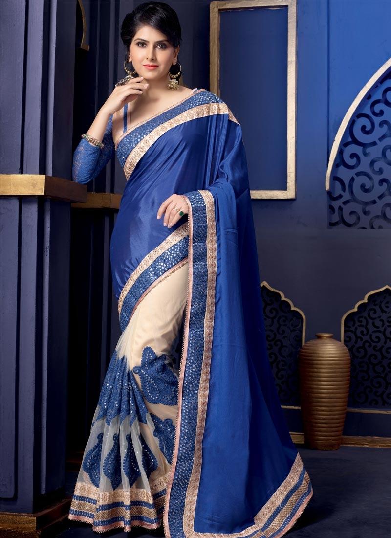 Simplistic Blue And Cream Color Half N Half Wedding Saree