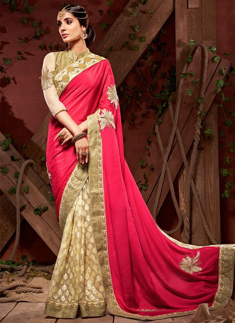 Simplistic Booti Work Rose Pink Color Half N Half Designer Saree