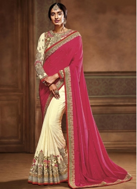 Simplistic  Cream and Fuchsia Embroidered Work Half N Half Trendy Saree