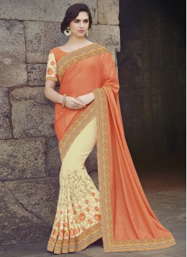 Simplistic Cream And Orange Color Half N Half Designer Saree