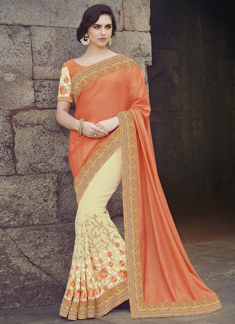 Simplistic Cream And Orange Color Half N Half Designer Saree