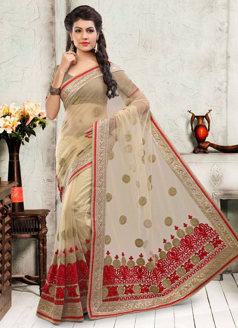 Simplistic Embroidery Work Net Wedding Saree