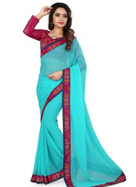 Simplistic Faux Georgette Lace Work Casual Saree
