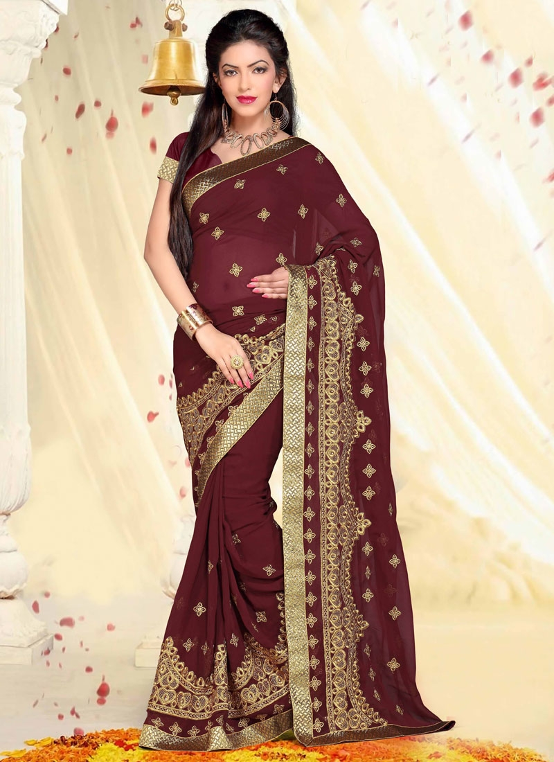 Simplistic Faux Georgette Lace Work Designer Saree