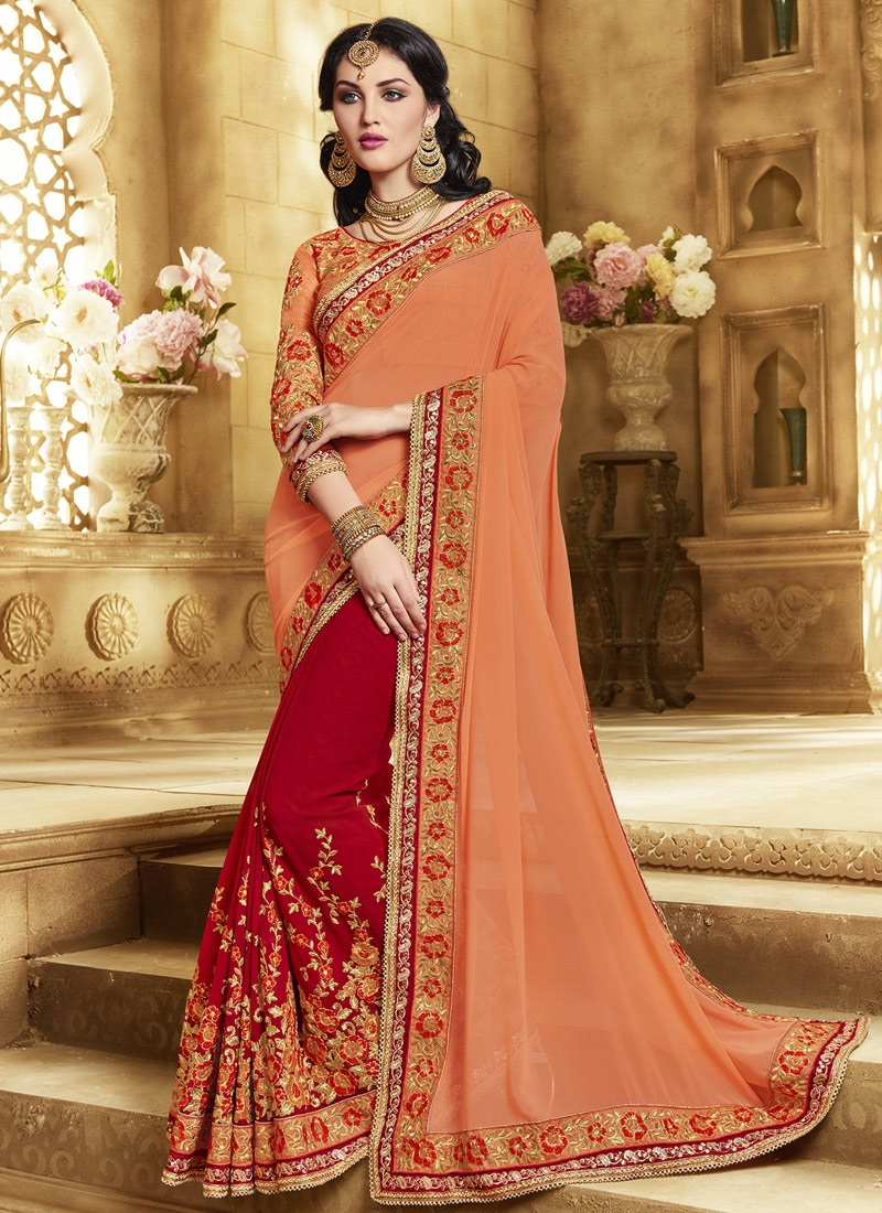 Simplistic Floral Work Half N Half Wedding Saree