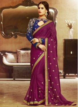 Simplistic Fuchsia Color Faux Chiffon Party Wear Saree
