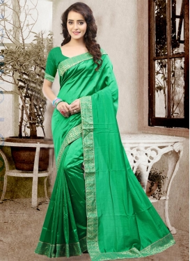 Simplistic Lace Work Art Silk Traditional Saree For Ceremonial