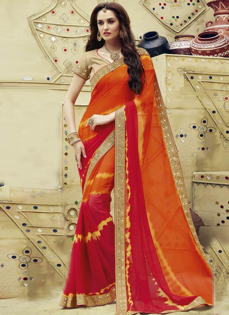 Simplistic Mirror Work Orange And Crimson Color Party Wear Saree