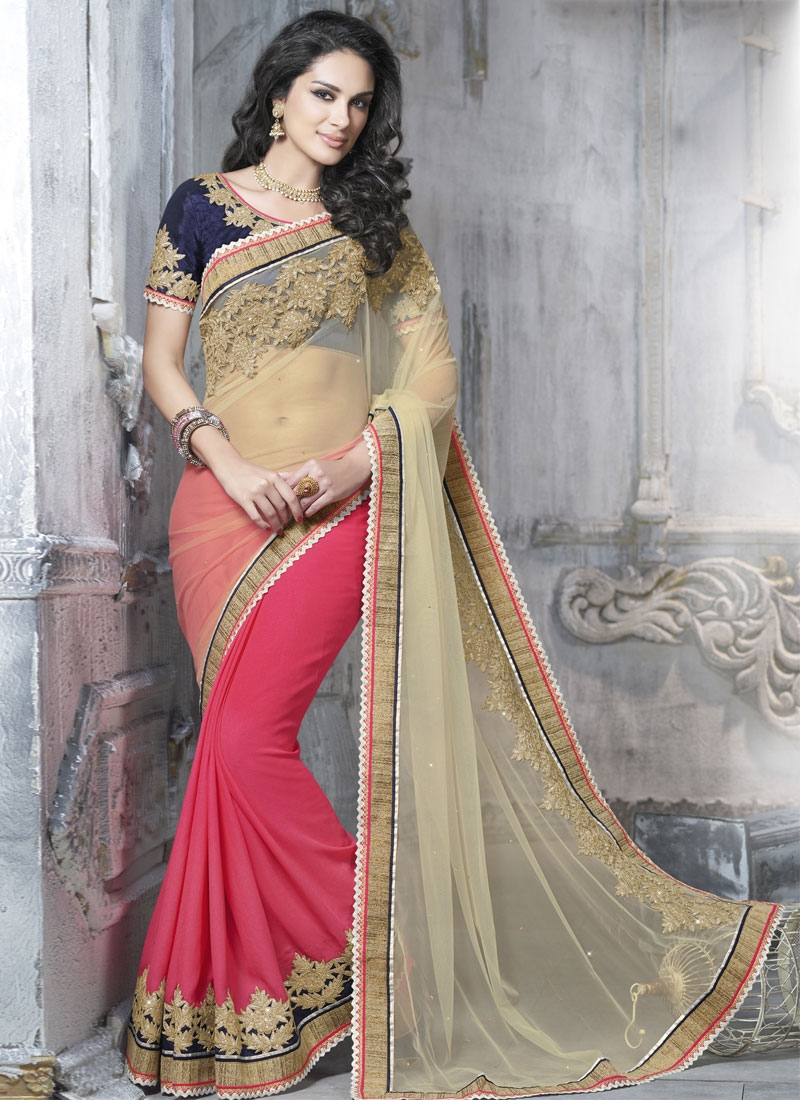 Simplistic Patch Border Work Half N Half Designer Saree