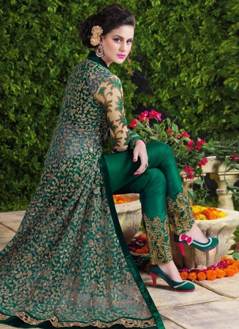 Simplistic Resham Work Green Color Long Length Designer Suit