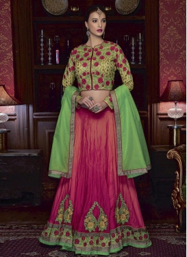 Simplistic  Satin Georgette Booti Work Mint Green and Rose Pink A - Line Lehenga
