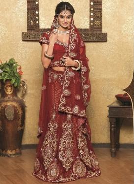 Simplistic Stone And Resham Work Wedding Lehenga Choli