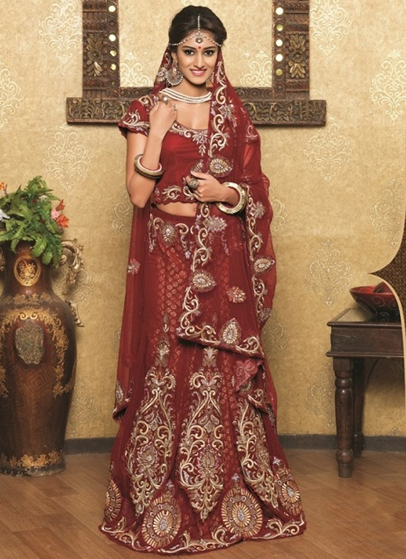 Simplistic Stone And Resham Work Wedding Lehenga Choli