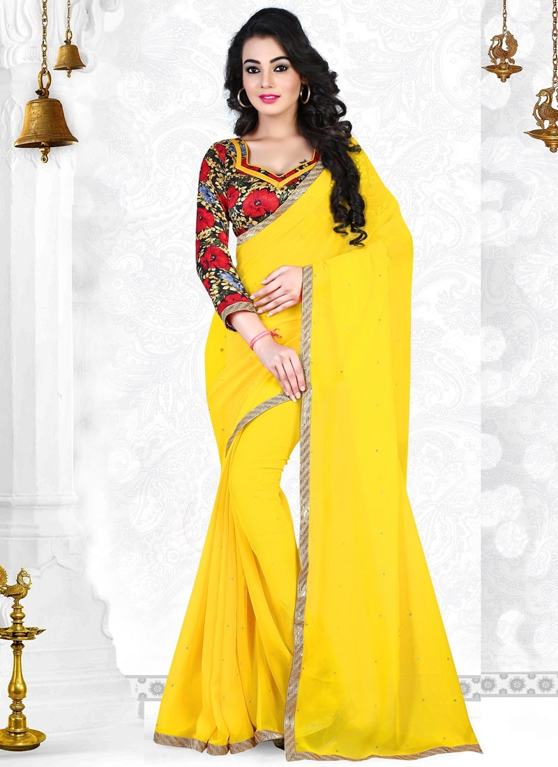 Simplistic Yellow Color Resham Work Casual Saree