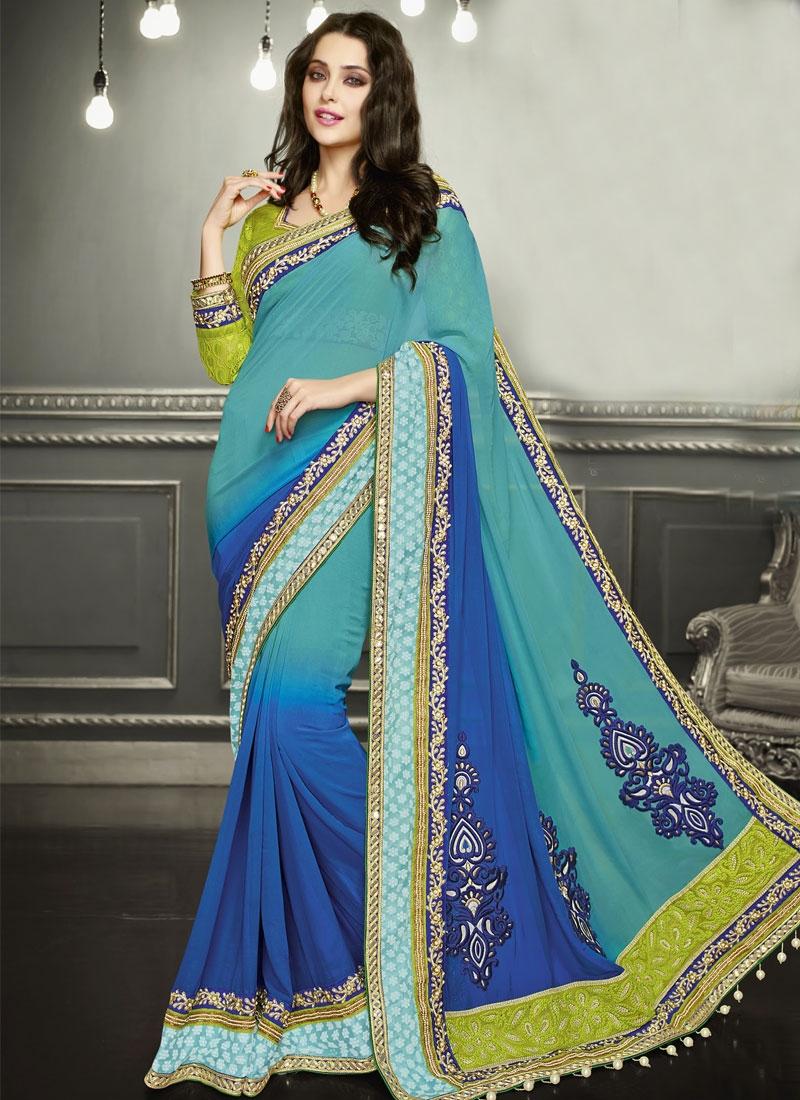 Snazzy Aqua Blue And Blue Color Wedding Saree