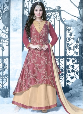 Snazzy Ayesha Takia Cream and Salmon Embroidered Work Asymmetrical Designer Salwar Suit