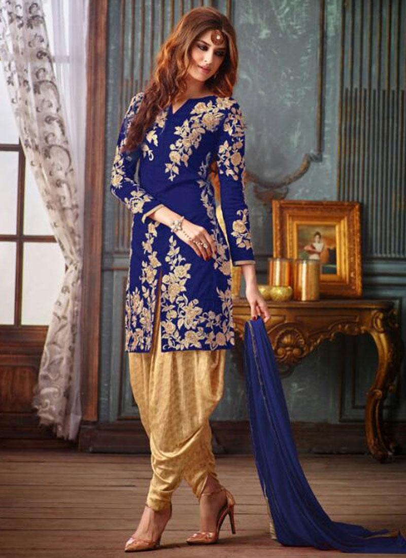 Snazzy Banarasi Silk Patiala Style Punjabi Salwar Kameez