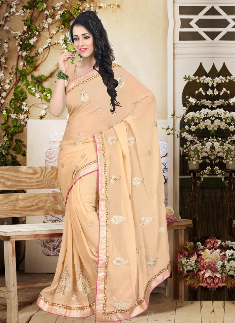 Snazzy Beige Color Faux Chiffon Booti Work Party Wear Saree