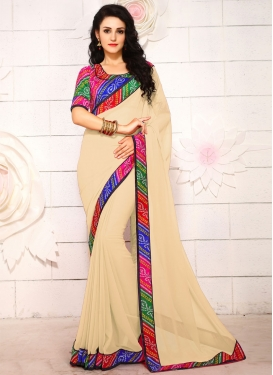 Snazzy Beige Color Faux Georgette Casual Saree