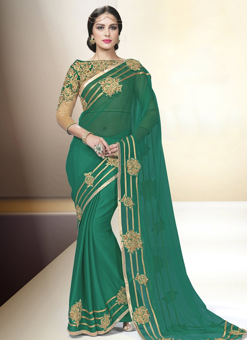 Snazzy Booti And Beads Work Party Wear Saree