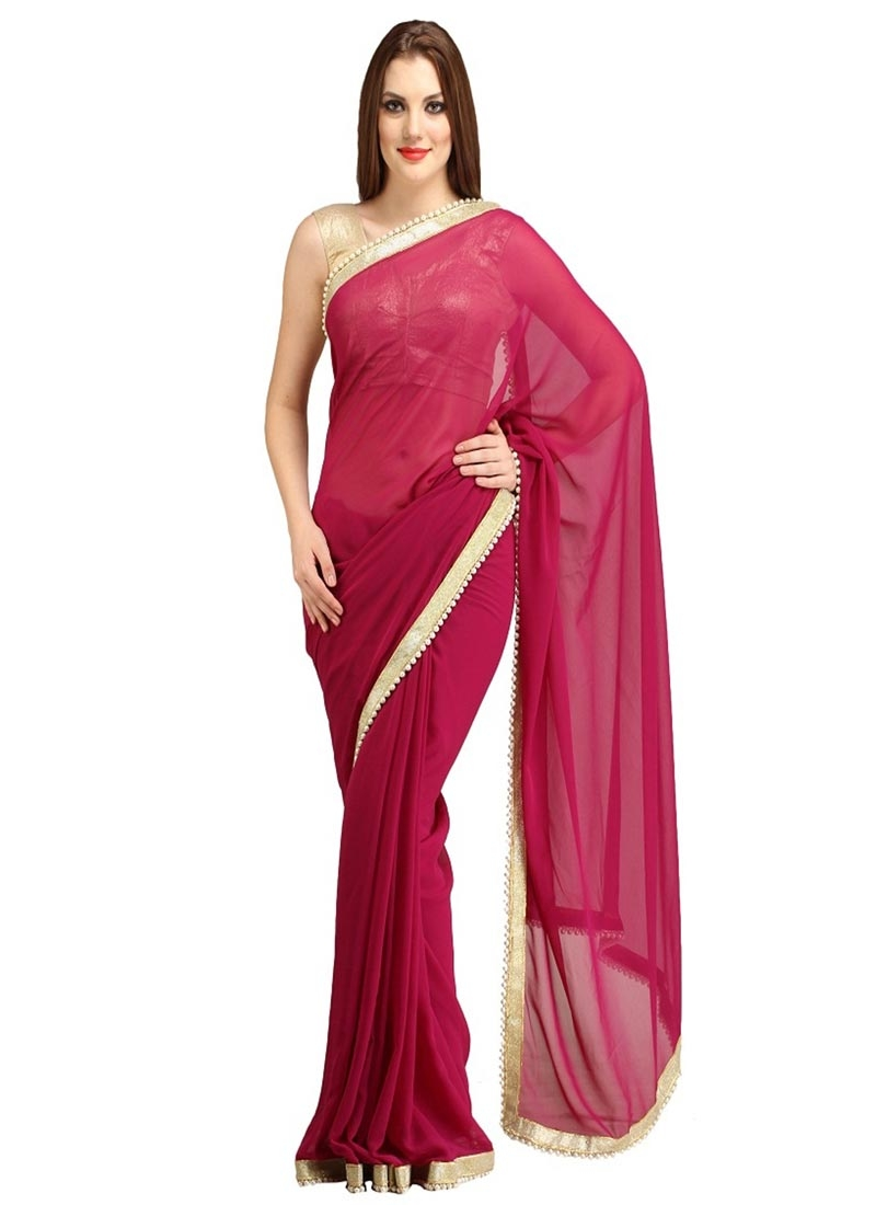 Snazzy Crimson Color Casual Saree