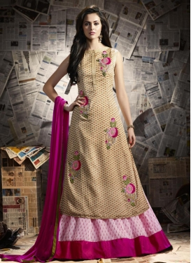 Snazzy Embroidered Work Kameez Style Lehenga Choli For Ceremonial