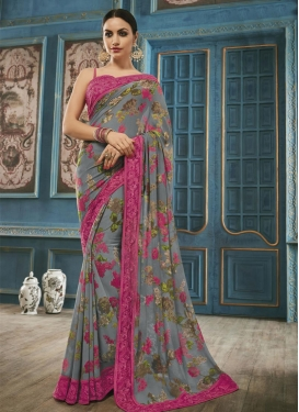 Snazzy Faux Georgette Digital Print Work Traditional Saree For Ceremonial