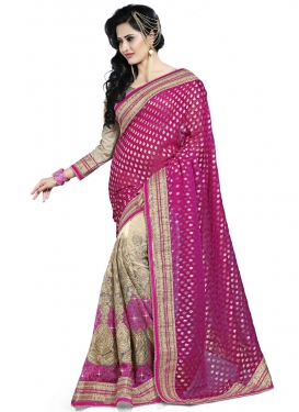 Snazzy Fuchsia And Beige Color Half N Half Bridal Saree