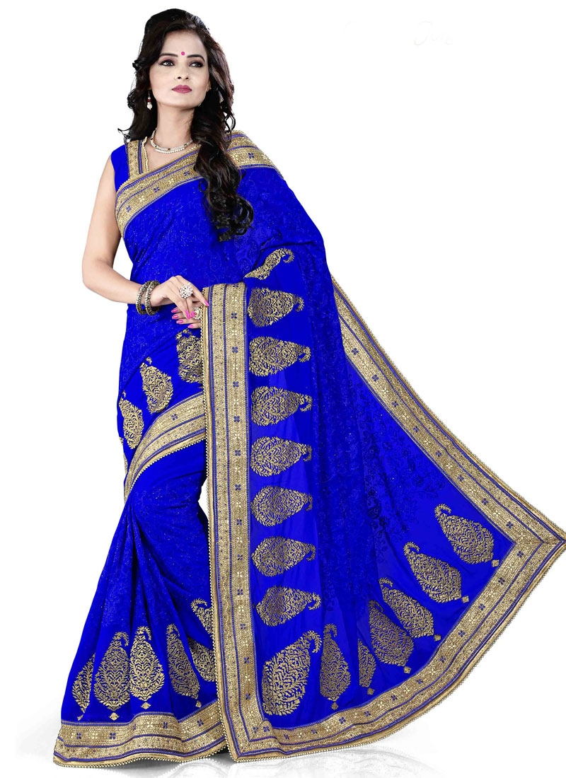 Snazzy Lace And Beads Work Designer Saree