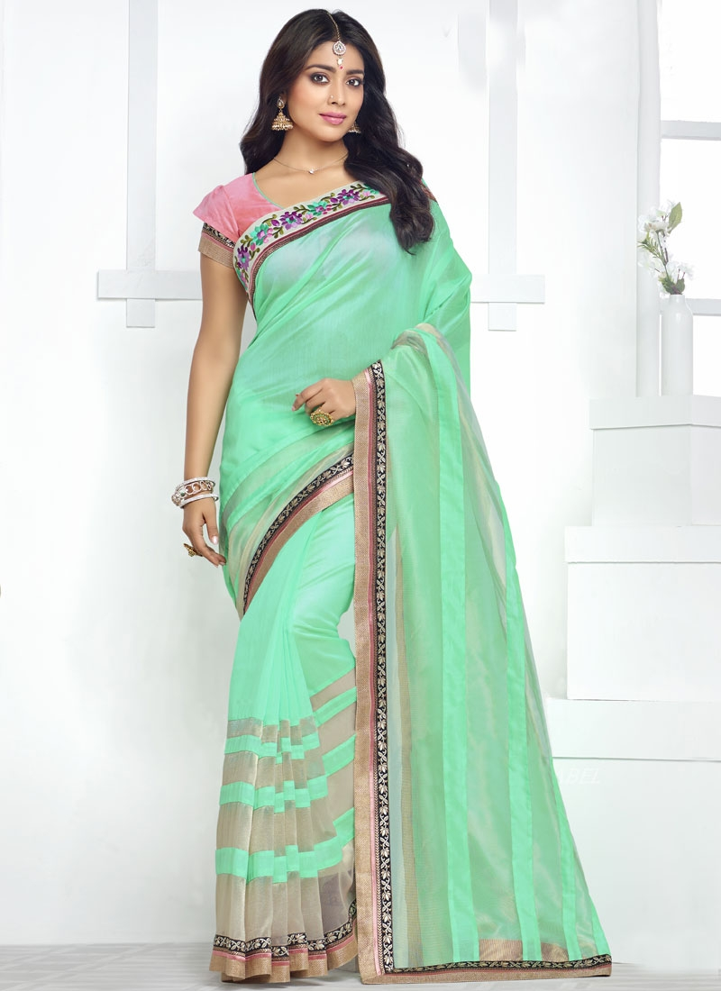 Snazzy Mint Green Color Shriya Saran Party Wear Saree