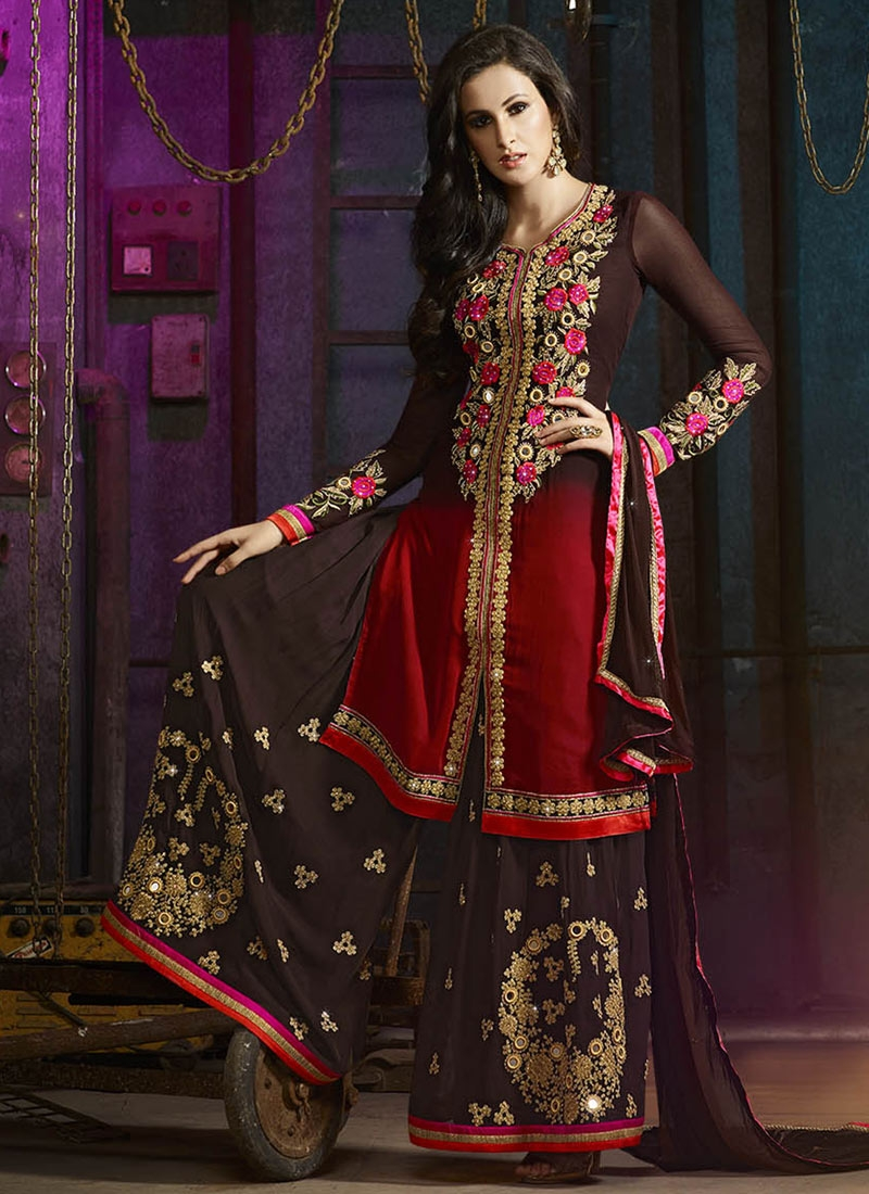 Snazzy Mirror And Floral Work Palazzo Style Designer Suit