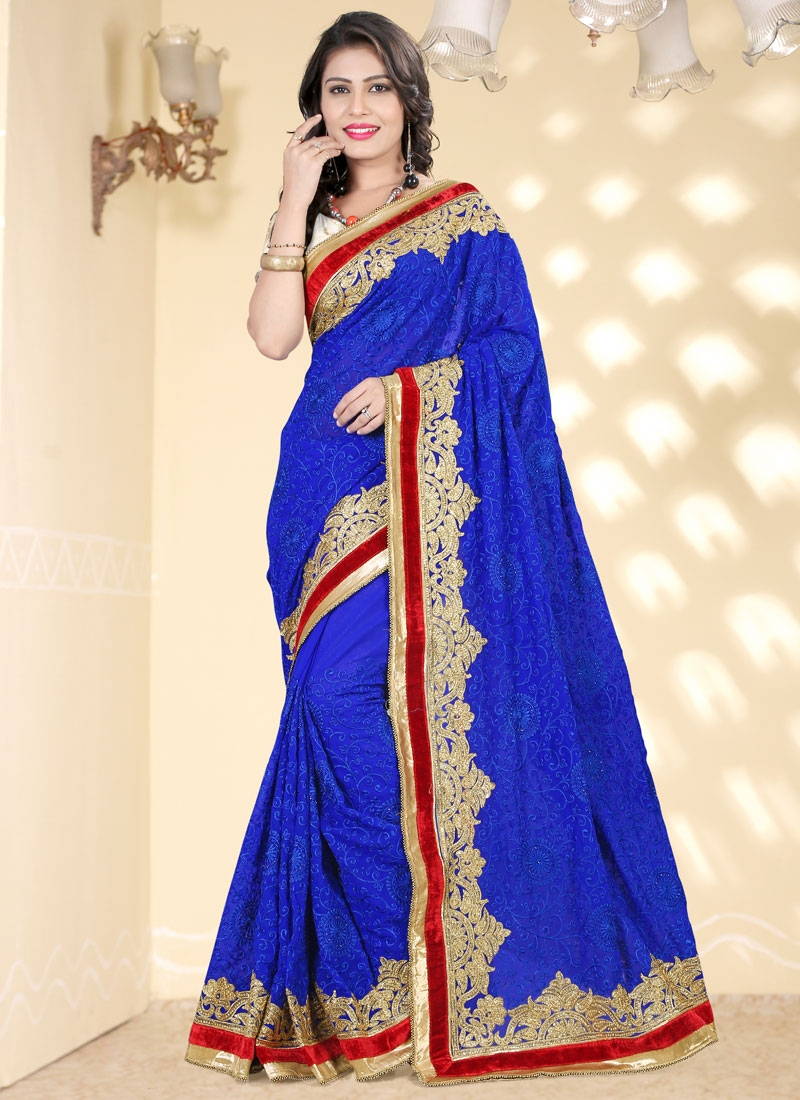 Snazzy Stone Work Blue Color Wedding Saree