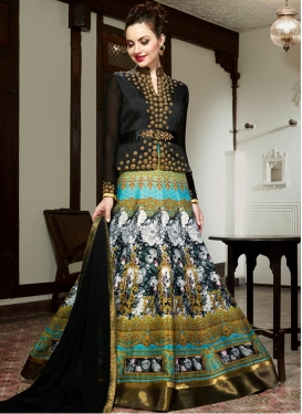Sonorous Beads Work Silk Aqua Blue and Black Long Length Designer Anarkali Suit For Festival