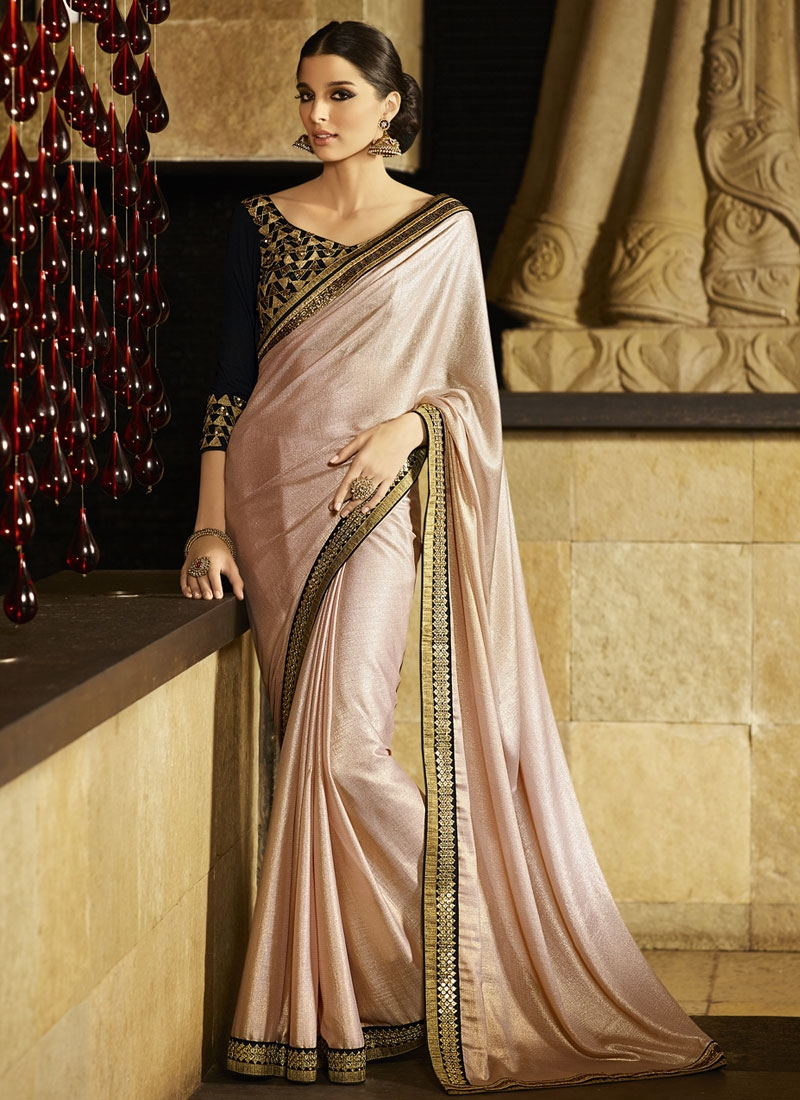 Sonorous Beige Color Lace Work Party Wear Saree
