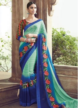 Sonorous Blue Color Faux Chiffon Party Wear Saree