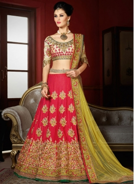 Sonorous Booti Work Art Silk Cream and Rose Pink Designer Lehenga Choli For Bridal