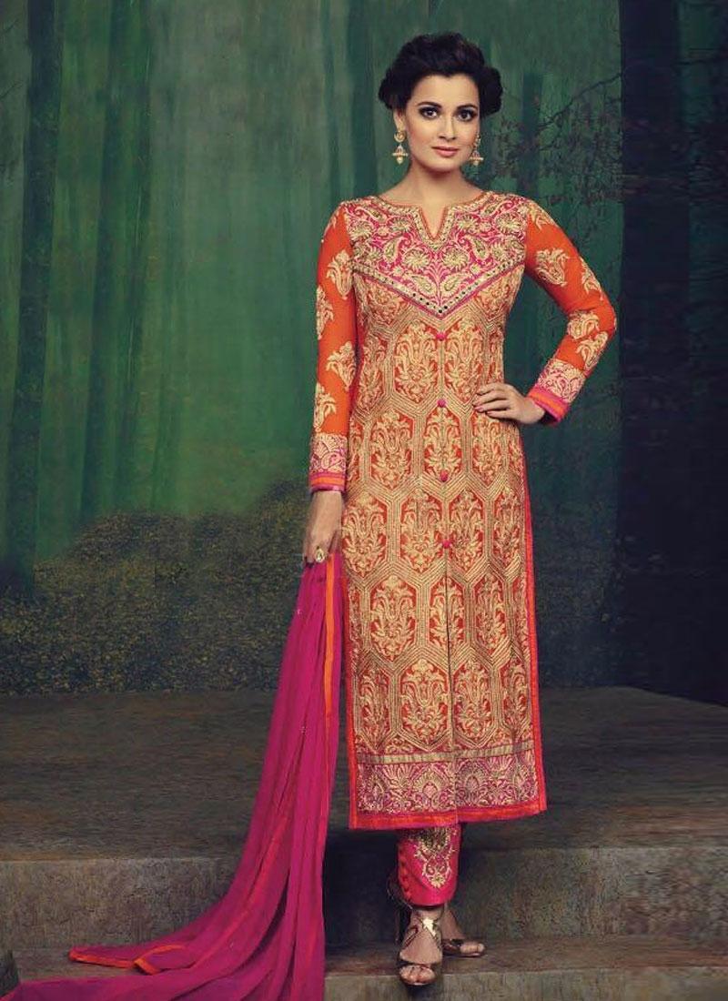 Sonorous Booti Work Dia Mirza Pant Style Pakistani Suit