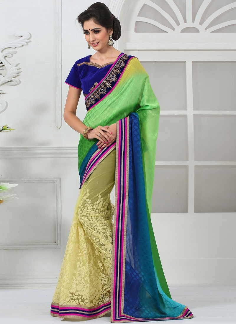 Sonorous Chiffon Satin Half N Half Party Wear Saree