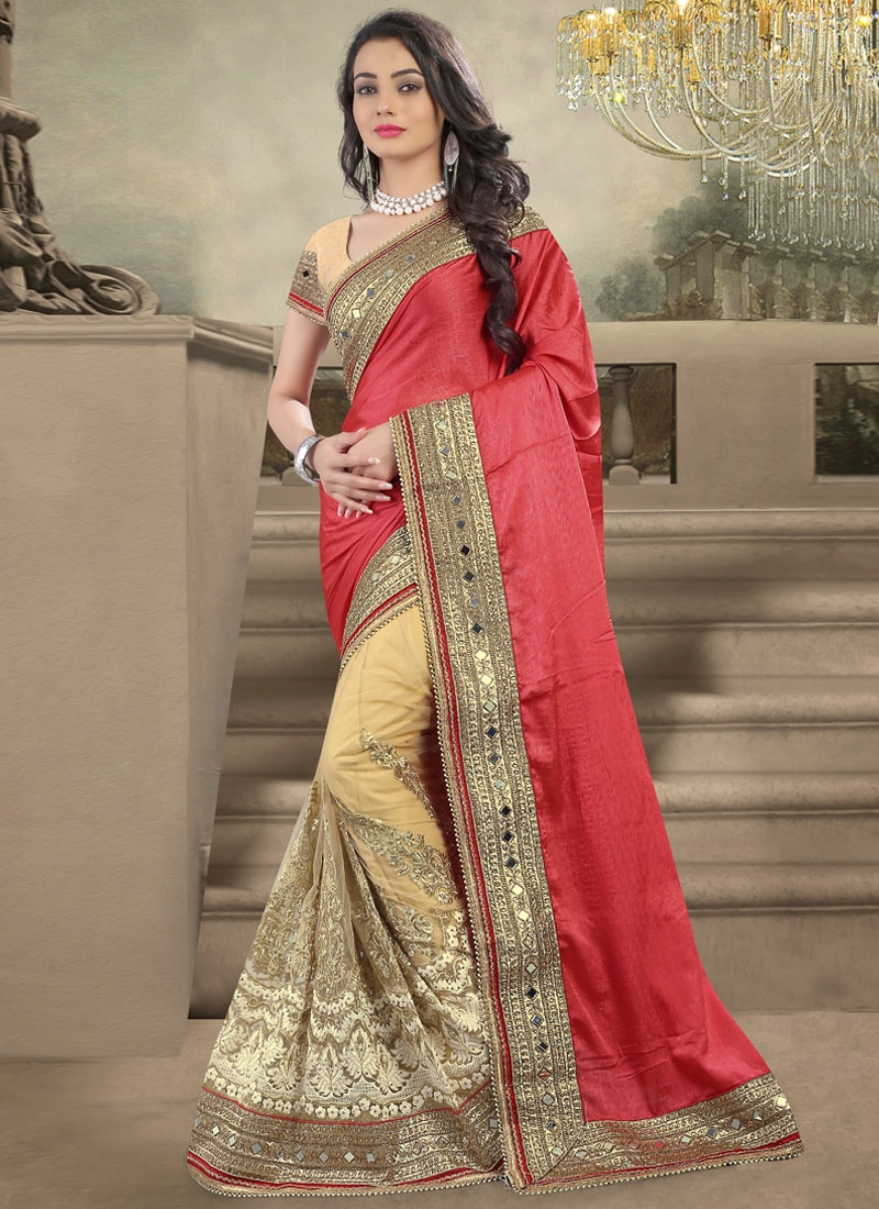Sonorous Chiffon Satin Mirror Work Half N Half Wedding Saree