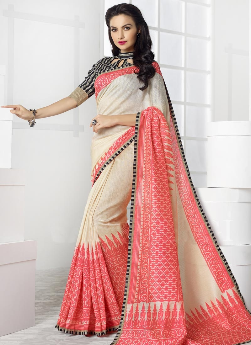 Sonorous Cream And Salmon Color Casual Saree