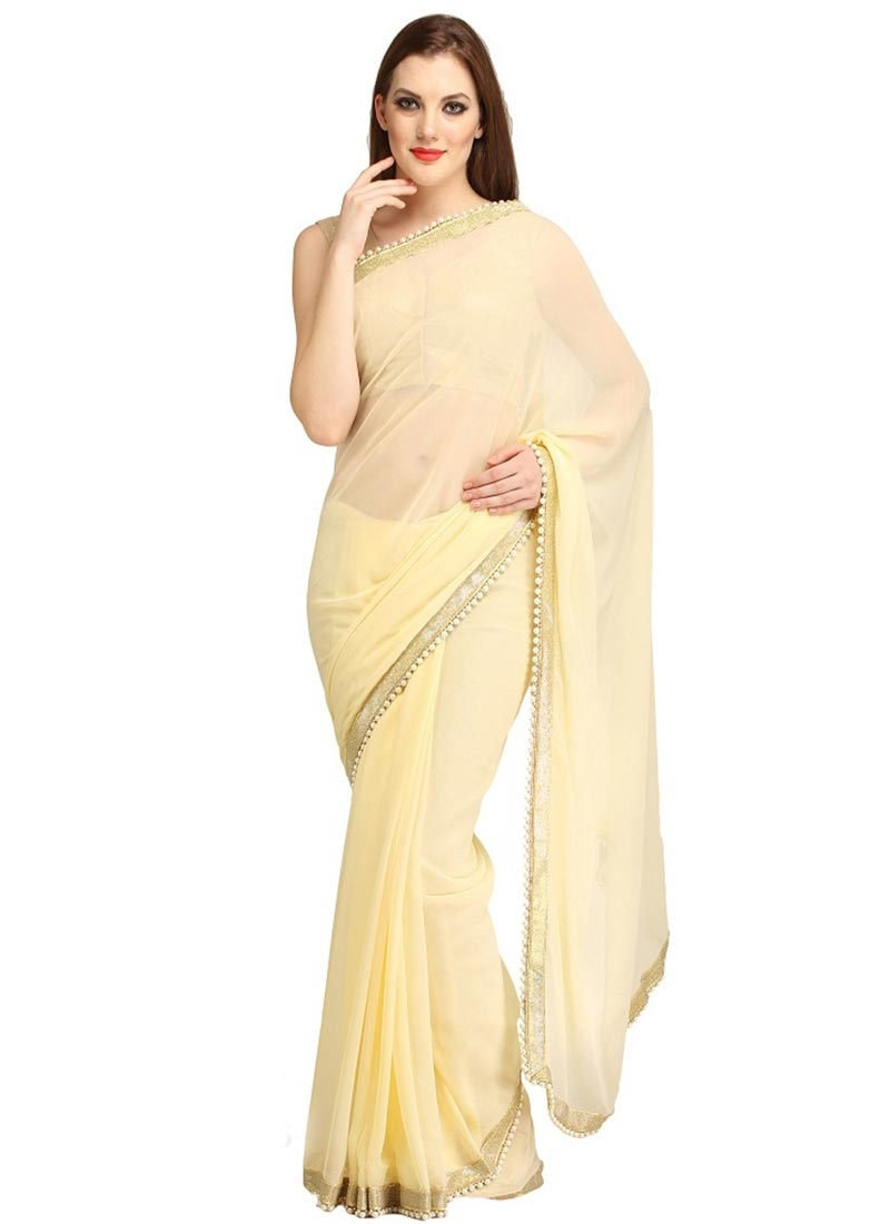 Sonorous Cream Color Lace Work Casual Saree