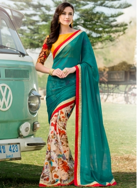 Sonorous Digital Print Work Half N Half Party Wear Saree