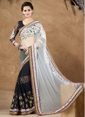 Sonorous Embroidery And Stone Work Half N Half Designer Saree
