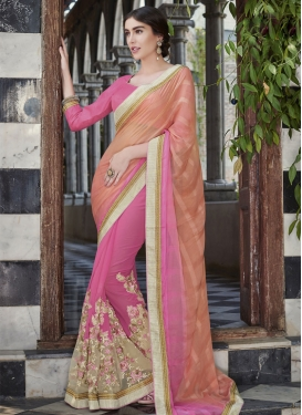 Sonorous Embroidery Work Hot Pink Color Half N Half Designer Saree