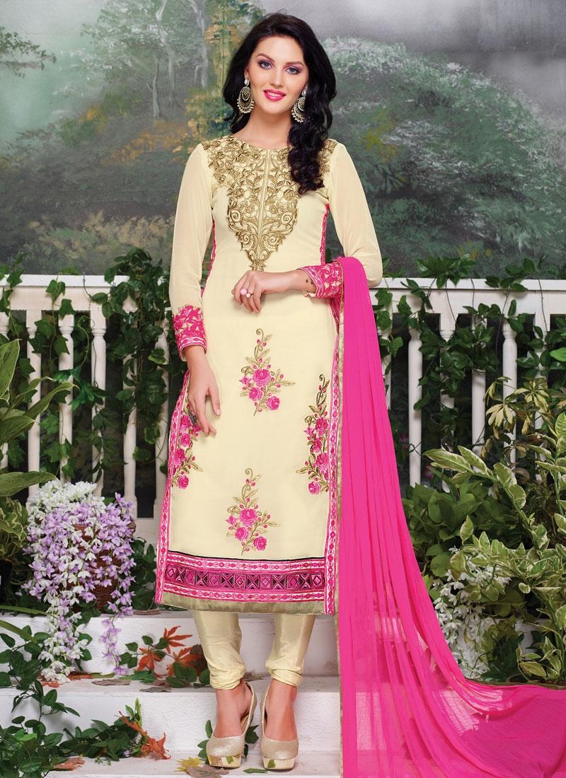 Sonorous Floral Work Cream Color Party Wear Salwar Kameez