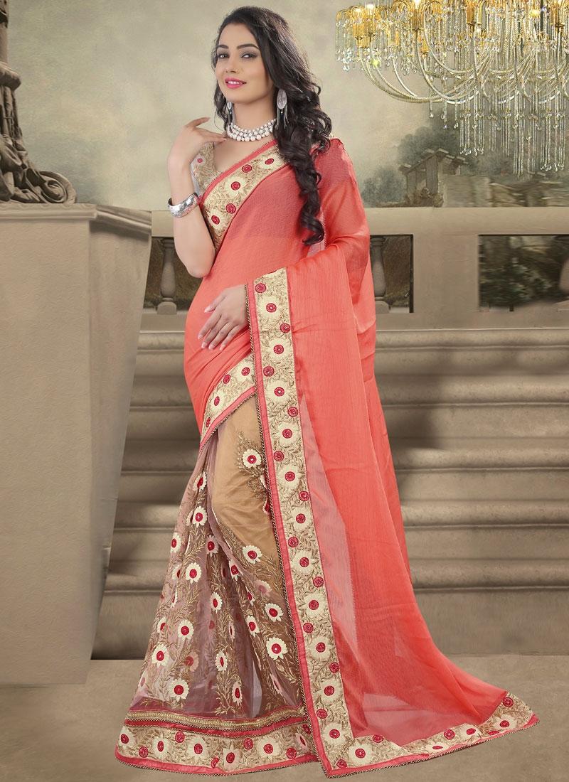 Sonorous Floral Work Net Half N Half Designer Saree